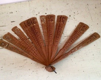 Vintage Japanese Wooden Fan for Repurpose Crafts Decoration
