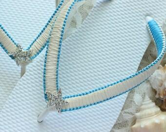 Bridal Flip flops Ivory/Turquoise, Wedding shoes, Beach Wedding flip flops Blue bridal shoes Wedding sandals bridal sandals bride flip flops