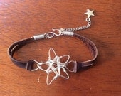 Silver star wire wrapped leather adjustable bracelet