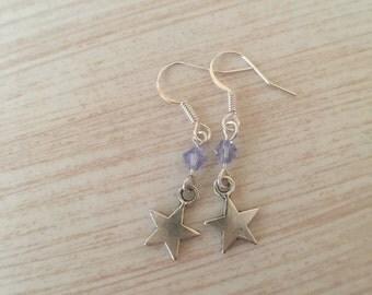 Star earrings/ tiny star earrings/ star with birthstone crystal choice/ simple earrings/ minimalist earrings/ shooting silver star/