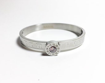 Roman Numeral Stainless Steel Rodium Plated Bangle . Crystal Dial Bangle. Stacking Bangle.