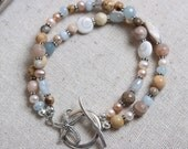 Double Strand Beaded Bracelet with Sterling Starfish Toggle Clasp - Beach Inspired