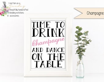 Time to Drink Champagne Celebrate Print