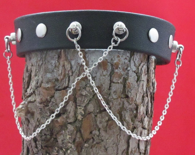 leather choker with ring posts and chains, genuine leather choker necklaced.black leather choker silver chains. leather necklaces