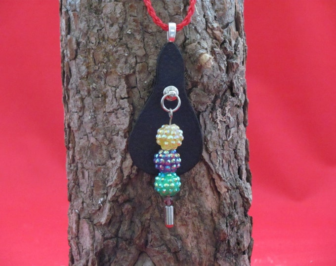 necklace with Shambala beads, necklace with leather pendant, necklace with cord and chain