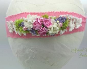 Newborn TieBack headband,  soft fabric headband, Toddler headband, girls headband, spring headband, pink purple green