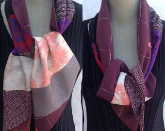 Vintage  Kimono silk scarf. WORLDWIDE FREE SHIPPING.