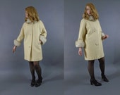 Vintage 1950s 1960s Lilli Ann Wool Coat with Fox Fur Collar and Cuffs Small Medium