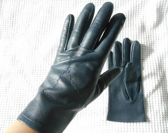Blue Gloves Leather Ladies Downton Abbey English Lady Jackie O