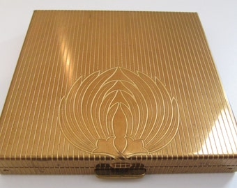 Vintage Volupte Art Deco Pinstripe Brass Powder Mirror Compact Felt Sleeve Vtg