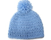 Baby Blue Crochet Baby Beanie Pom Hat 3-6 Months Ready To Ship