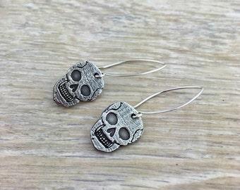 Skeleton Earrings - Skull Earrings - Halloween - Holiday - Jewelry - Earrings - Sterling Silver - Earrings - skeleton - skull - pam hurst