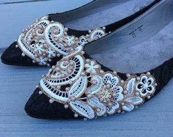 SALE - size 9 Black French Pleat Bridal Ballet Flats