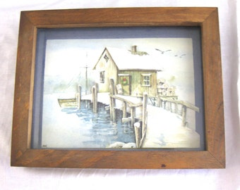 Vintage MCM 3-D Raised Signed Shadow Box Snow Scene Paper Folk Art Cabin Ship