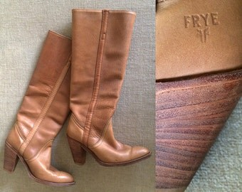 FRYE Boots Size 6.5 or 7 Vintage 70s 80s Gorgeous Leather Knee High Heel Western Cowboy Boots Carmel Brown Stacked Leather Heel Made in USA