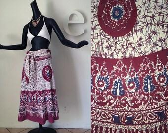 Vintage 70s Hippie Boho Skirt India Indian Ethnic Moroccan Mandala Batik Print Wrap Around Music Festival100% Cotton  Heavy Gauze SM MED