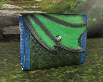 Leather Belt Pouch: Green Dragon Wing Design,Belt pouch, Viking Belt Pouch, Hip Bag, Belt Bag, Leather Hip Bag, Belt Pocket,Belt Bag Leather