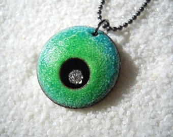 Green and Blue Enamel Copper Necklace