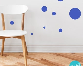 17 Dots - Assorted Size Peel and Stick Brilliant Blue Polka Dot Wall Decals | 2 inch to 12 inch