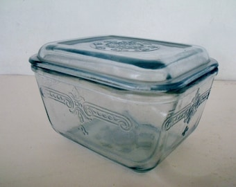 Fire King Philbe Blue Sapphire Refrigerator Dish with Lid