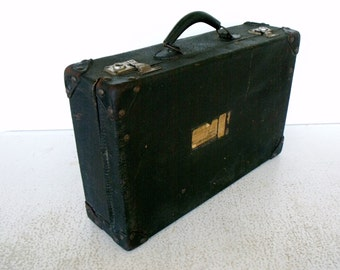 "Early Samsonite ""Samson"" Suitcase Black Leather Luggage"