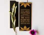 Downtown Deco Gold Foil Stamped Custom Wedding Invitation