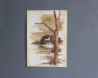 Original Sailboat Watercolor Painting