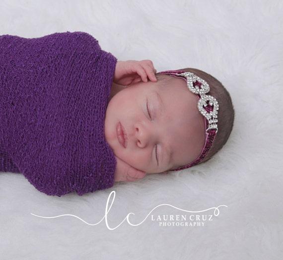Rhinestone Buckle on Plum Glitter Elastic Headband for newborns to adults perfect for photo shoots
