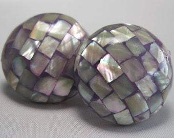 Mother of Pearl Earrings - Inlaid Earrings - Vintage Earrings - Purple Earrings
