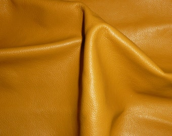 "PRECUT Leather 20""x20"" Flawed DIVINE Dijon Mustard Yellow top Grain Cowhide #179 2.5 oz / 1mm - PeggySueAlso™ E2885-21"