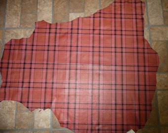 "Leather 7.25 sq ft 37""x24"" Dark Pink TARTAN PLAID Print Lambskin Hide 1.5oz / 0.6mm #376 PeggySueAlso™"