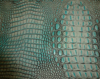 """Leather 12""""x12"""" ALLIGATOR Turquoise with gray Croc Embossed Cowhide 2.5-2.75oz/1-1.1 mm PeggySueAlso™ E2860-06"""