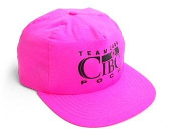 Glowing 90s Neon Pink CIBC Team 2000 Nylon Snapback Cap