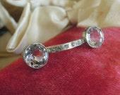 Vintage Antique Sterling Edwardian Eyeglass Shaped Pin /  Edwardian Brooch / Rhinestones / Swivel Clasp Closure / Bar Pin / Lapel Pin