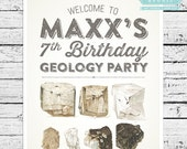 Geology Party Sign - Welcome guests to your child's birthday party with this personalized printable sign!