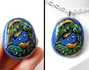 Pisces Necklace, Zodiac Jewelry, Fish Art, Hand Painted Pebble Pendant, Animal Painting, Star Sign, Keepsake Gift for Her, Beach Stone