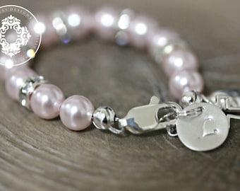 Monogram bracelet, Infant Jewelry SWAROVSKI Pink Pearl Baby bracelet, Baptism, christening, baby shower gift, Monogram, Personalized