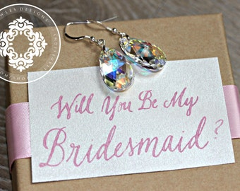 Bridal Jewelry, Swarovski Crystal Tear Drop, wedding Earrings, bridal party, Personalized Bridal party gifts, by JewlesDesigns on Etsy