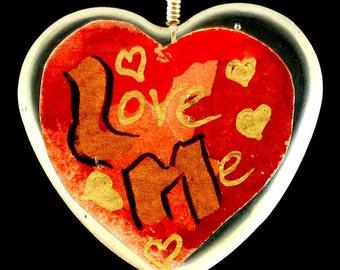 "Heart Shaped Epoxy Resin Pendant - ""Love Me"""