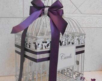 Large Silver Wedding Birdcage Card Holder / Wedding Card Box / Purple Wedding Card Box / Wedding Card Holder / Custom Wedding Decor