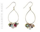 Gemstone Earrings, Gemstone Hoop Earrings, Hoop Earrings, Gold Earrings, Gold Filled Earrings, Gold Gemstone Earrings, Gemstone Hoops