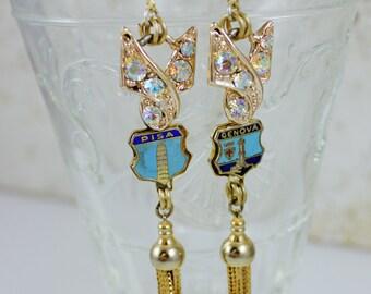 Vintage Rhinestone Italy Crest Travel Boho Tassel Shoulder Duster Chandelier Earrings