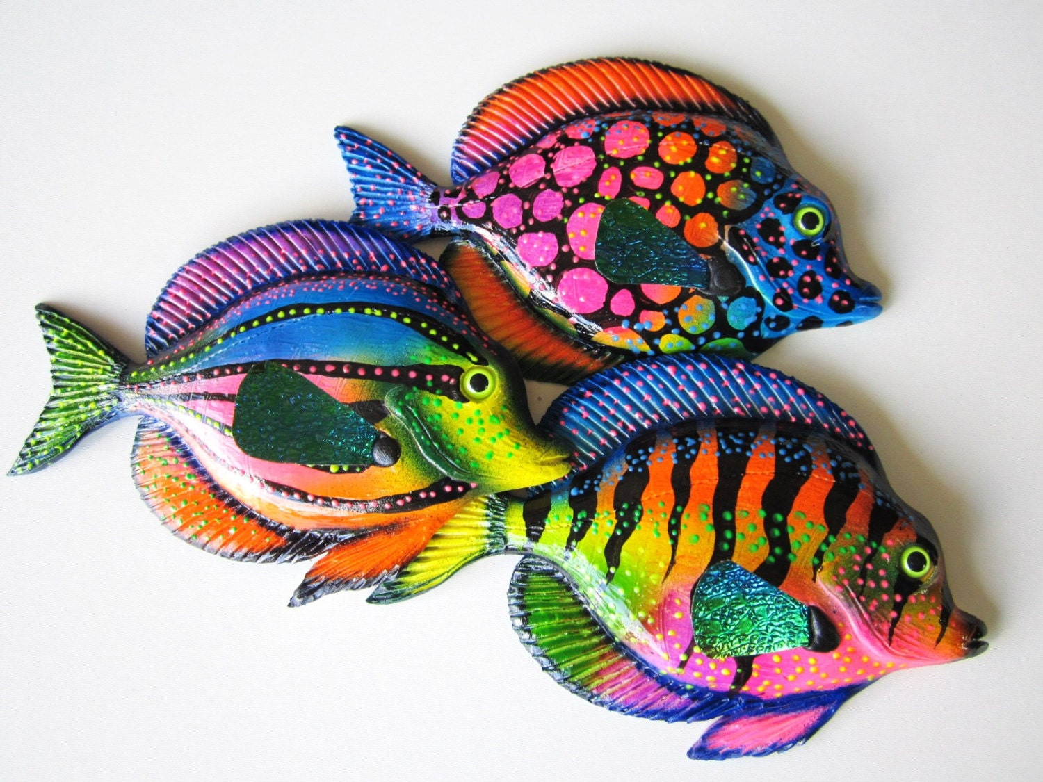 Fish home wall decor fish wall hanging whimsical fish art for Fish wall decor