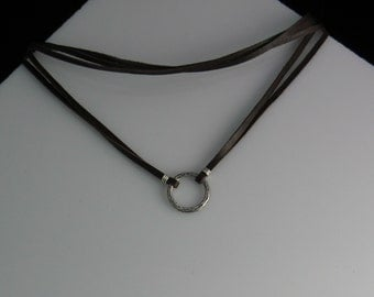 Leather and Sterling Circle Pendant Choker Necklace - Unisex Eternity Infinity Zoe Firefly