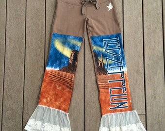SALE Led Zeppelin Tie Dye Sheer Lace Flare Sweatpants
