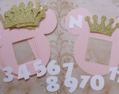 Photo Frame Light Pink Head Shapes Minnie Mouse Gold Glitter Crowns Die Cuts DIY Decorations Banners 1 - 12 month pictures Happy Birthday