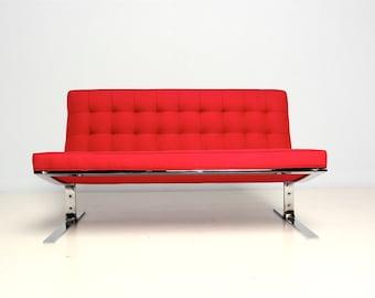 Mid Century Modern Red Settee Nico Zographos Style