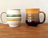 1970s Retro Pottery Mugs Mis Matched Mug Collection