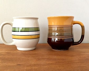 1970s Retro Pottery Mugs Mis Matched Mug Collection