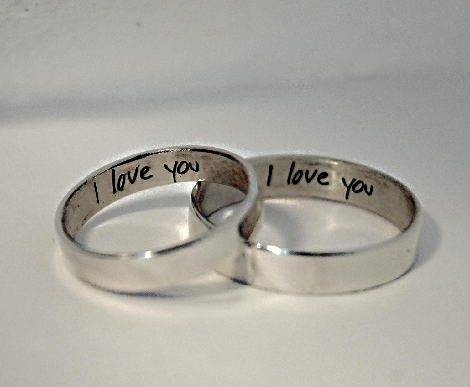 his and hers handwriting rings engraved wedding bands zoom